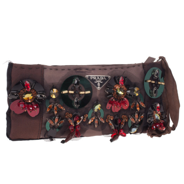 Prada Small Beaded and Satin Clutch