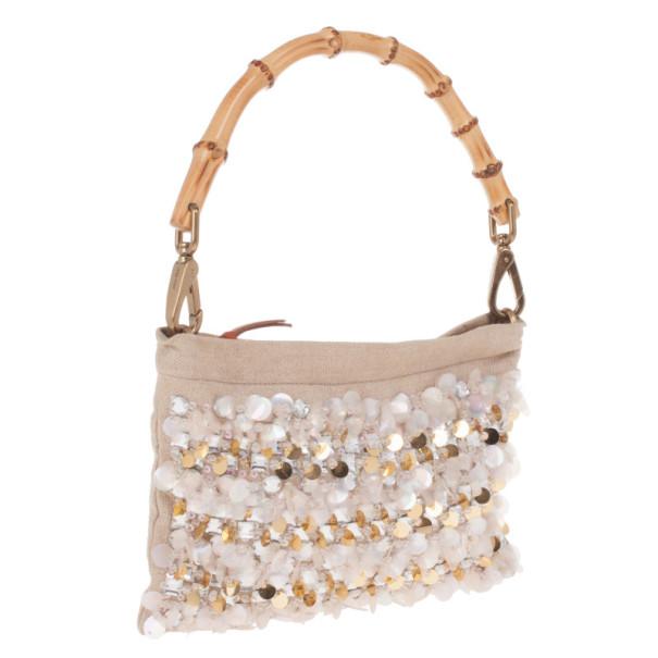 Miu Miu Beige Sequined and Beaded Bamboo Handle Bag