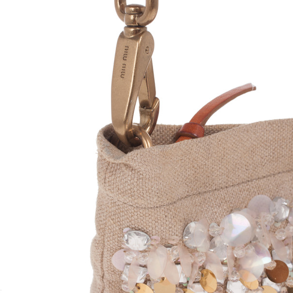 Miu Miu Beige Sequined and Beaded Bamboo Handle Bag