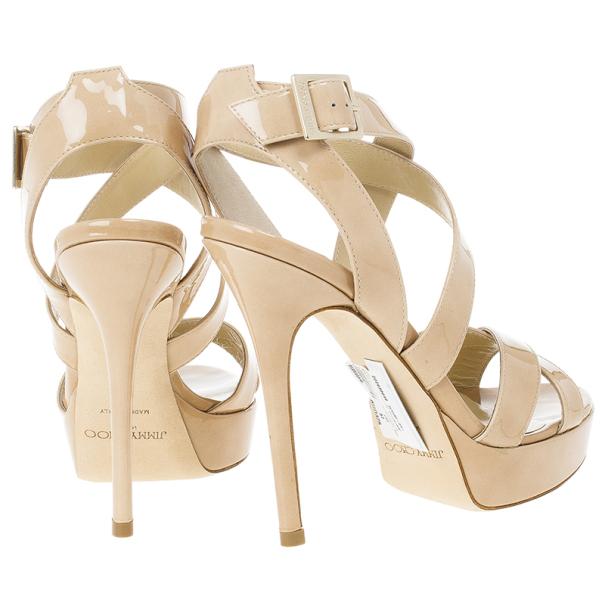 Jimmy Choo Nude Patent Vamp Platform Sandals Size 37