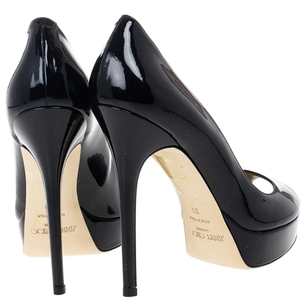 Jimmy Choo Black Patent Crown Peep Toe Pumps Size 39