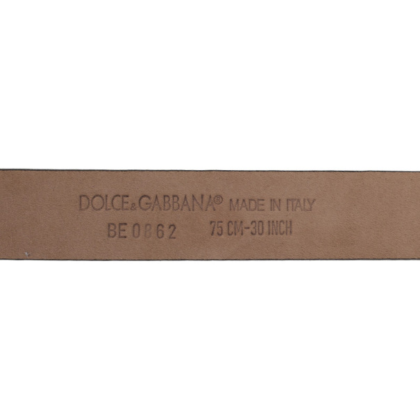 Dolce and Gabbana Black Leather D&G Belt 75 CM