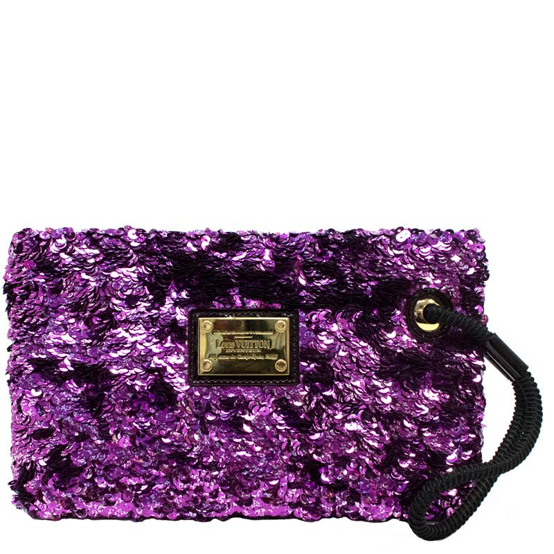Louis Vuitton Limited Edition Violette Sequin Rococo Pochette Clutch Bag 2w0nzkA