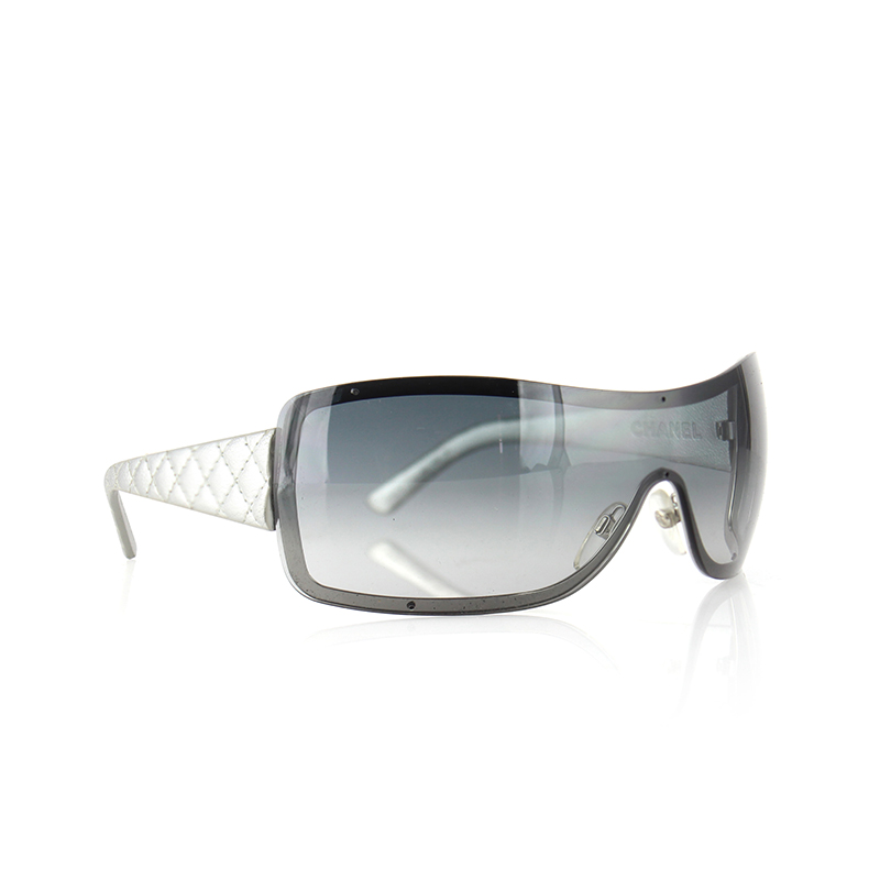 Chanel Silver Quilted Leather 4155-Q Shield Sunglasses