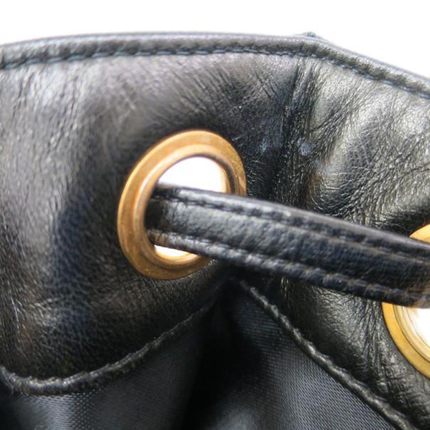 Chanel Black Lambskin Drawstring Hobo