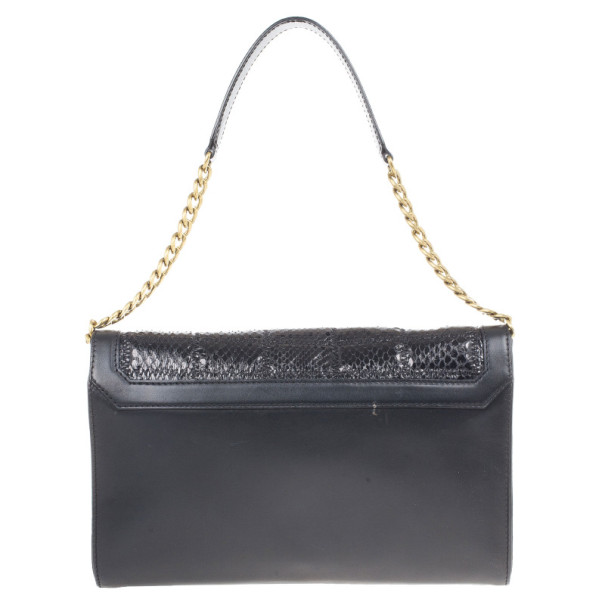 Jimmy Choo Black Leather and Python Cassie Shoulder Bag