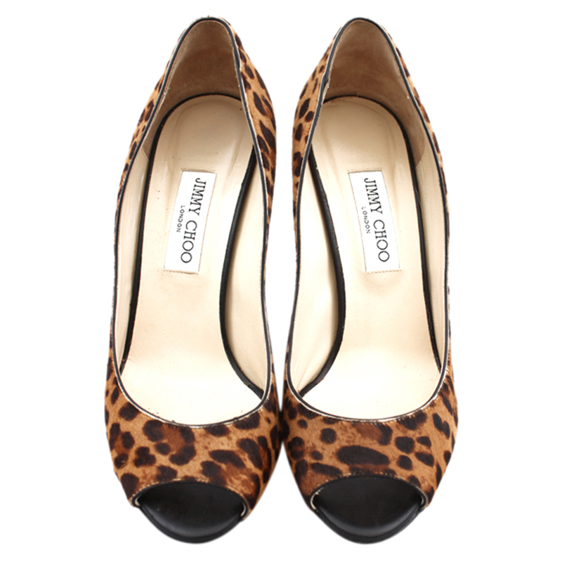 9fcb5e3287d9 ... denmark jimmy choo leopard calf hair baxen peep toe wedge pumps size 40  ea700 bd321