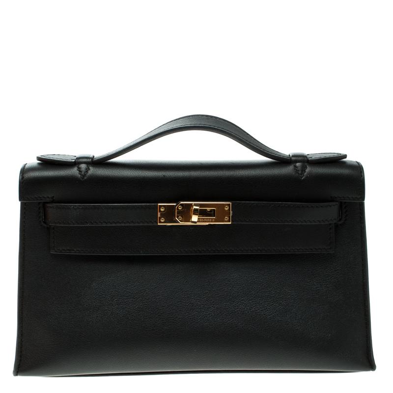 ... Hermes Black Swift Leather Gold Hardware Kelly Pochette. nextprev.  prevnext