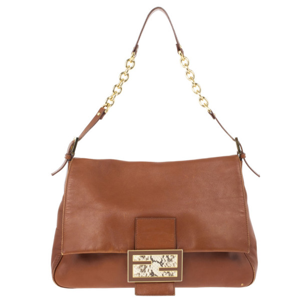 Fendi Brown Leather Big Mama Shoulder Bag