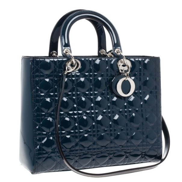 Dior Blue Patent Large Lady Dior