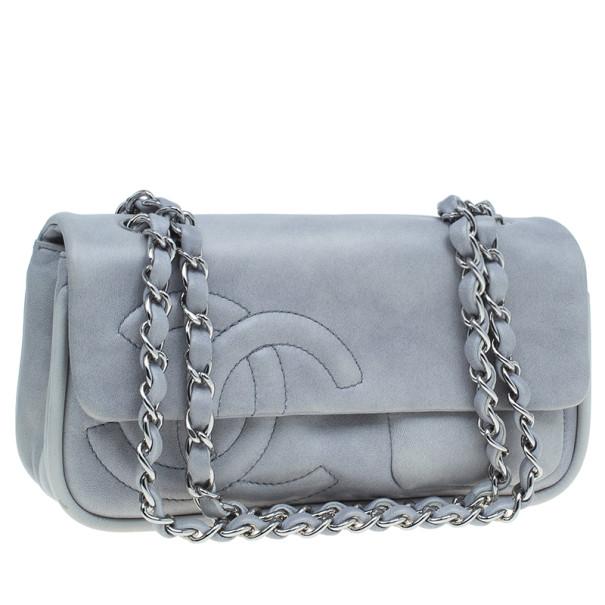 Chanel Grey Lambskin Diagonal CC Chain Flap Bag
