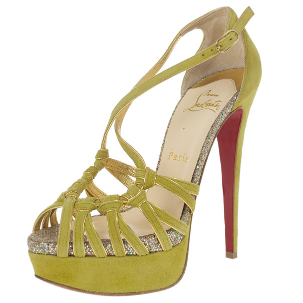 Christian Louboutin Green Suede 8 Mignons Platform Sandals Size 37