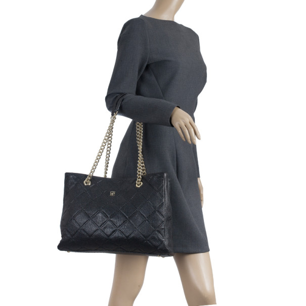 Carolina Herrera Black Quilted Shopper Tote
