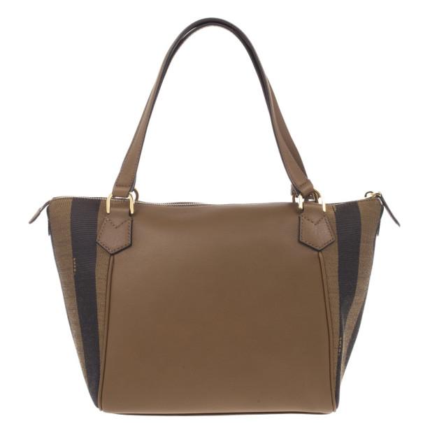 Fendi Leather Pequin Trapeze Bag