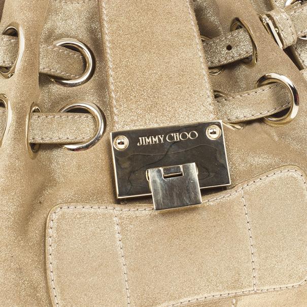 Jimmy Choo Metallic Gold Suede Ramona Tote Bag