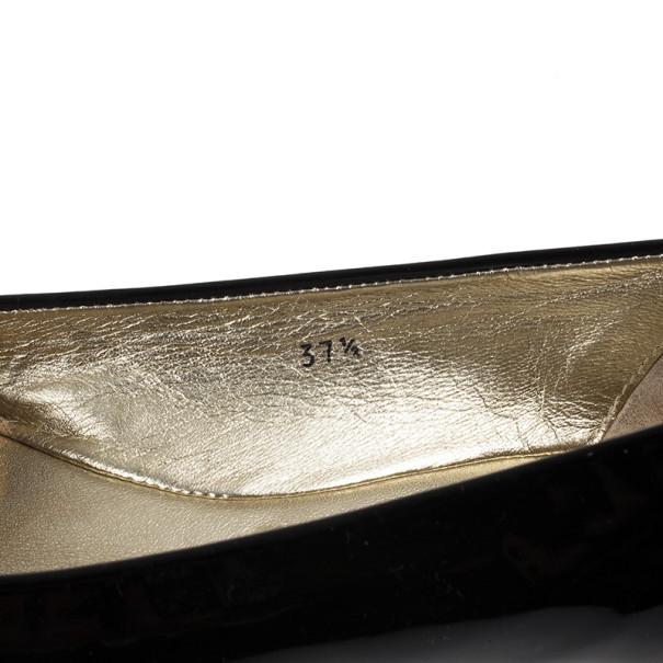 Jimmy Choo Black Patent Morse Ballet Flats Size 37.5