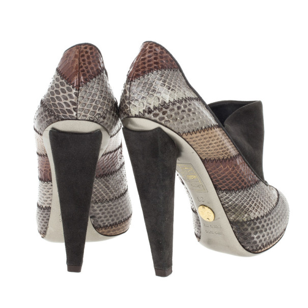 Dolce and Gabbana Grey Suede Python Embossed Ankle Booties Size 36