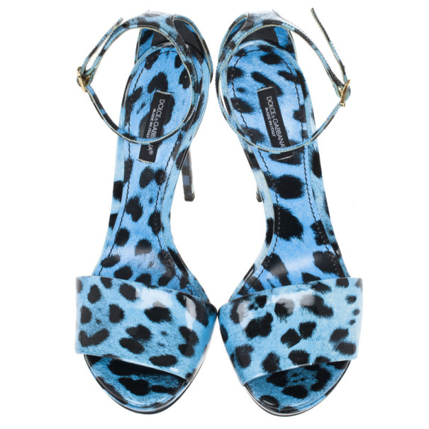 Dolce and Gabbana Blue Leopard Print Patent Ankle Strap Sandals Size 37