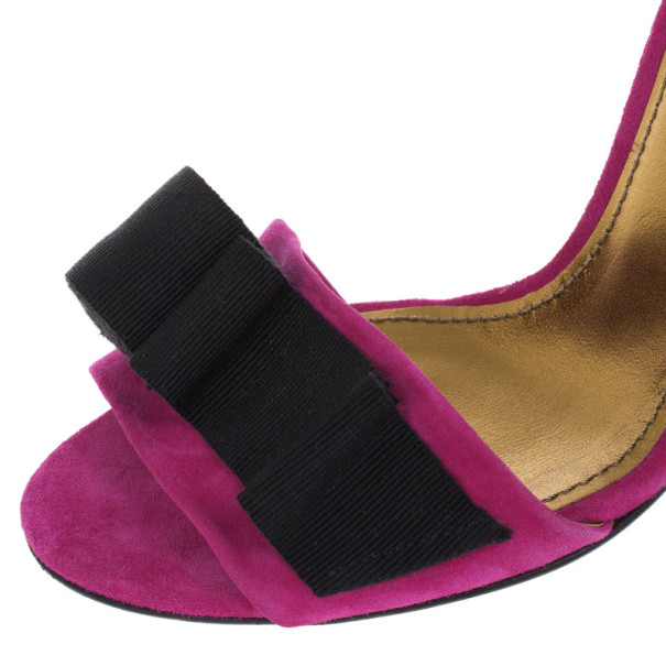Dolce and Gabbana Pink Suede Ankle Strap Sandals Size 39