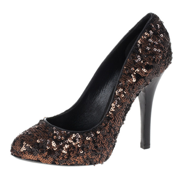 Dolce and Gabbana Bronze Sequin Pumps Size 38