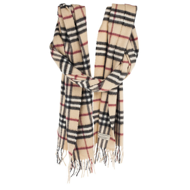 Burberry Beige Novacheck Cashmere and Wool Scarf