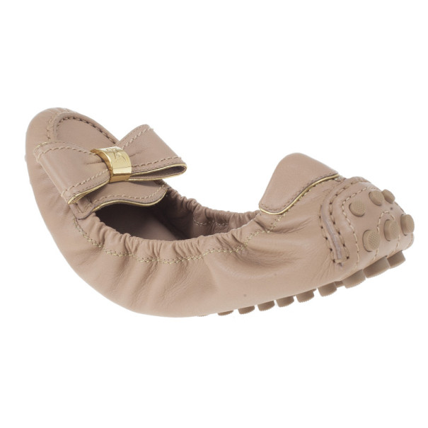 Louis Vuitton Beige Leather Tempting Ballet Flats Size 37.5