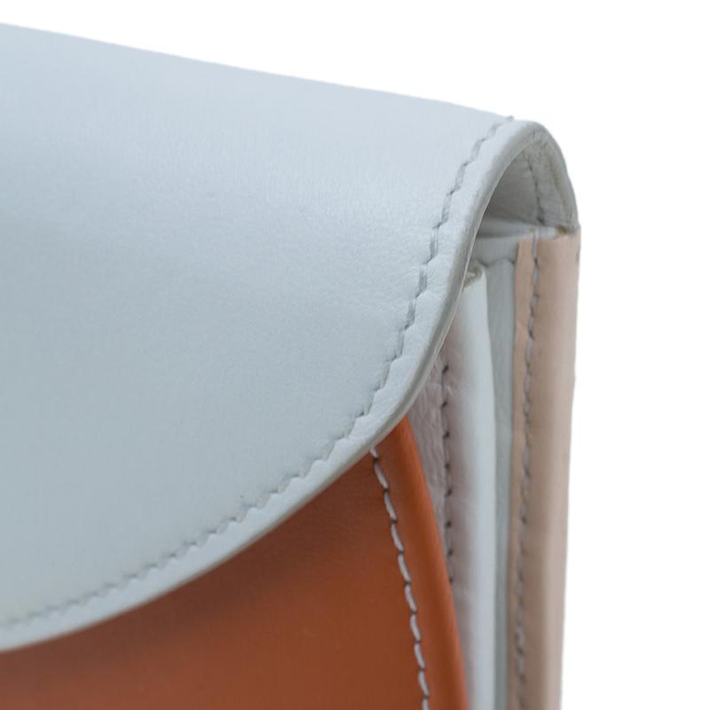 Salvatore Ferragamo Orange and White Leather Gancio Bar Continental Wallet