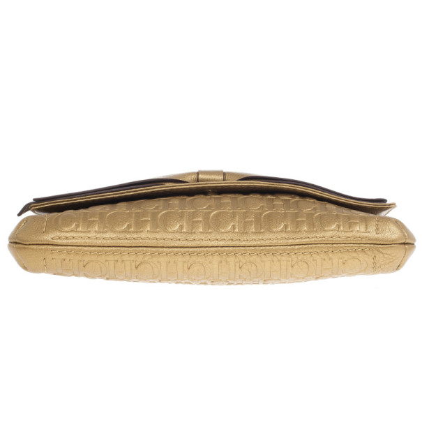 Carolina Herrera Gold Monogram Embossed Bow Bag