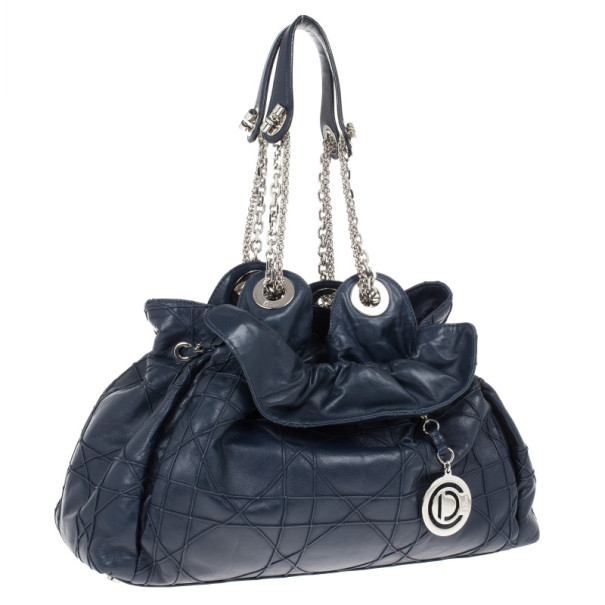 Dior Navy Lambskin Leather Le 30 Cannage Tote