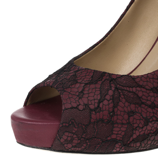 Valentino Purple Lace Peep Toe Pumps Size 39.5