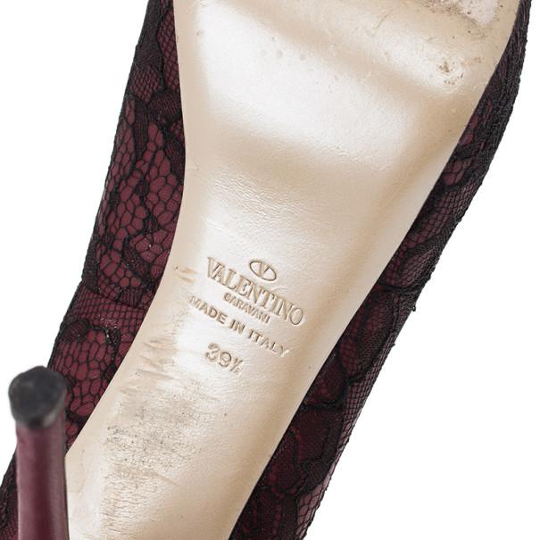 Valentino Purple Lace Peep Toe Pumps Size 39.5