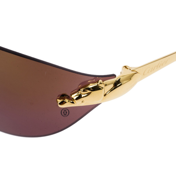 Cartier Gold Panthere De Cartier Rimless Shield Sunglasses