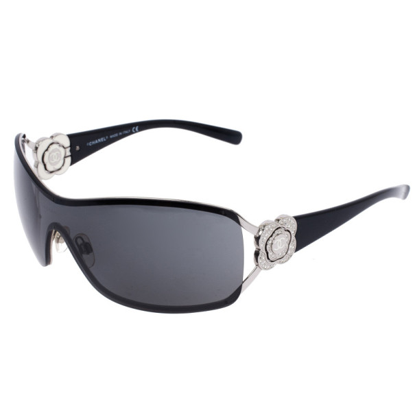 Chanel Vintage Black Camelia Shield Sunglasses