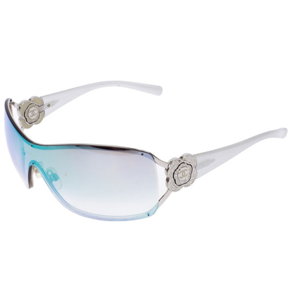 Chanel Vintage Silver Camelia Shield Sunglasses