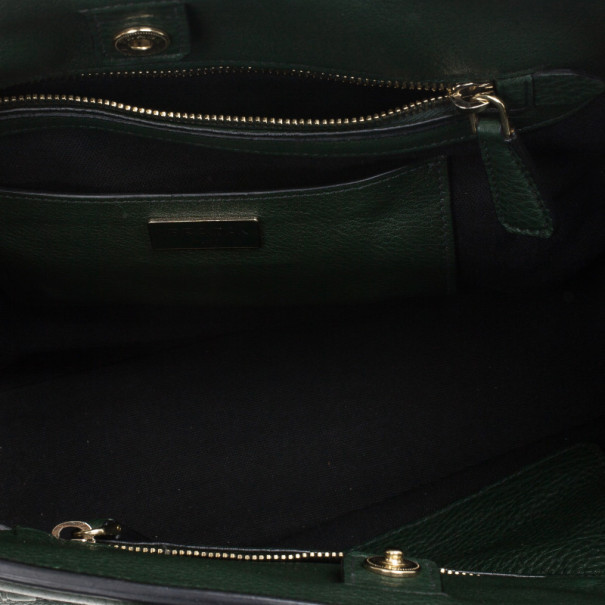 Prada Forest Green Vitello Daino Leather Tote Bag