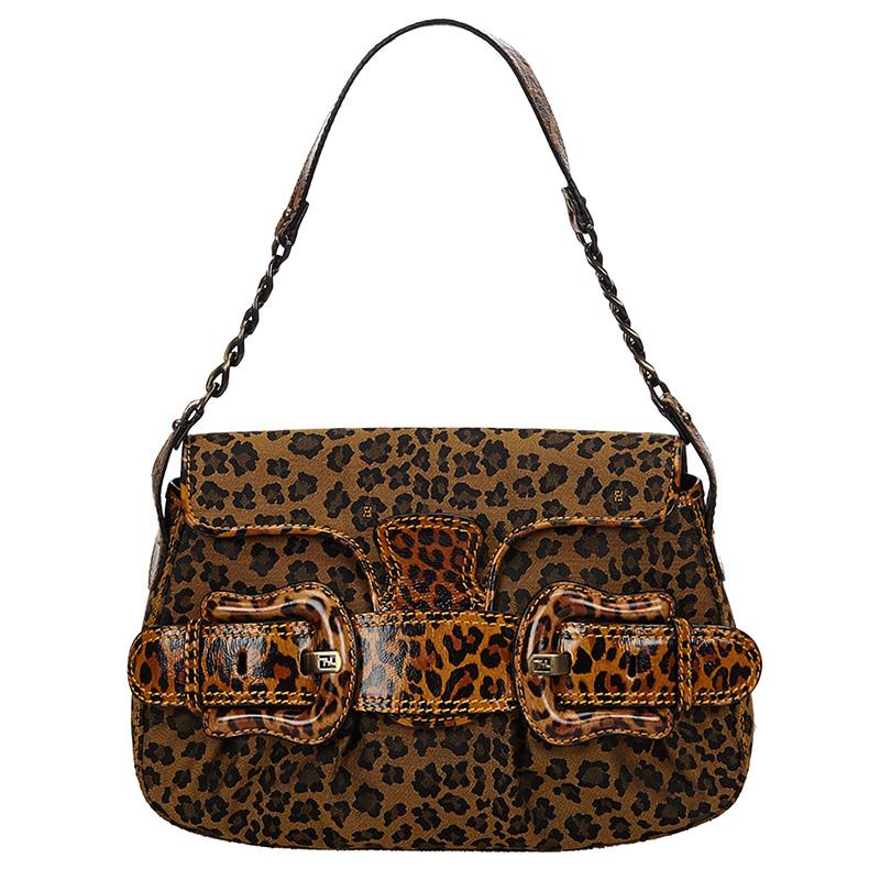 best loved top design official Fendi Brown Leopard Print Canvas/Leather Shoulder Bag Fendi | TLC