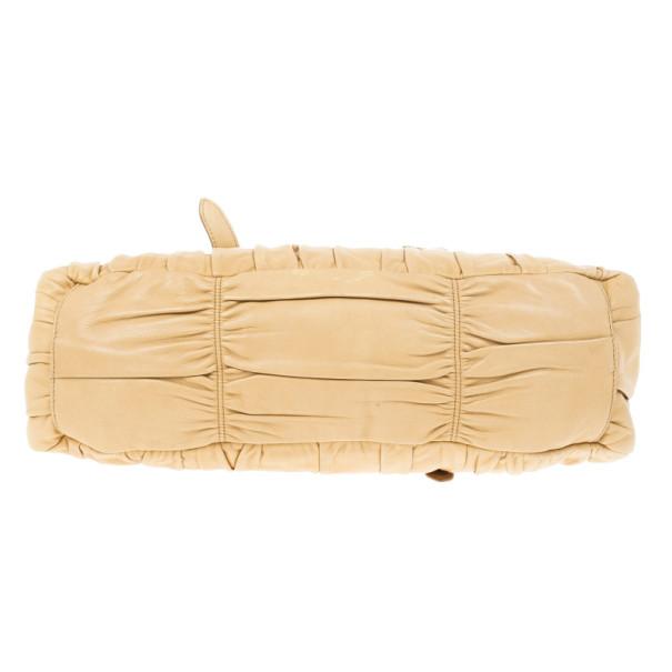Prada Beige Nappa Gaufre Leather Satchel