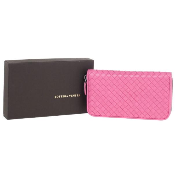 Bottega Veneta Pink Intreciatto Zip Around Wallet