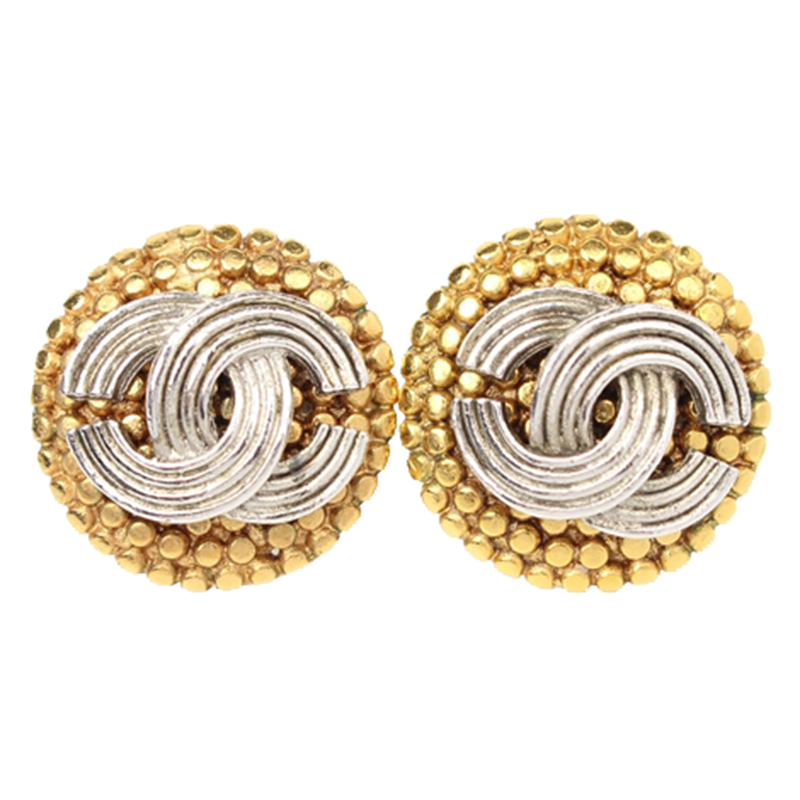 Chanel Cc Silver And Gold Tone Stud Earrings Nextprev Prevnext