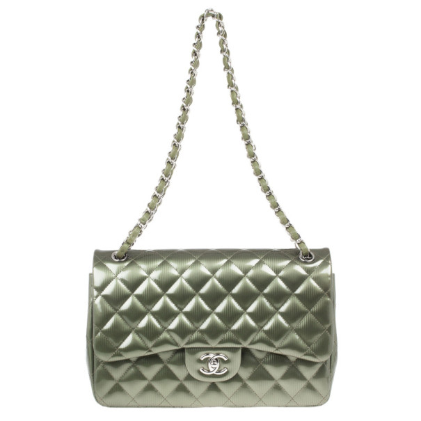 Chanel Green Patent Jumbo Double Flap Bag