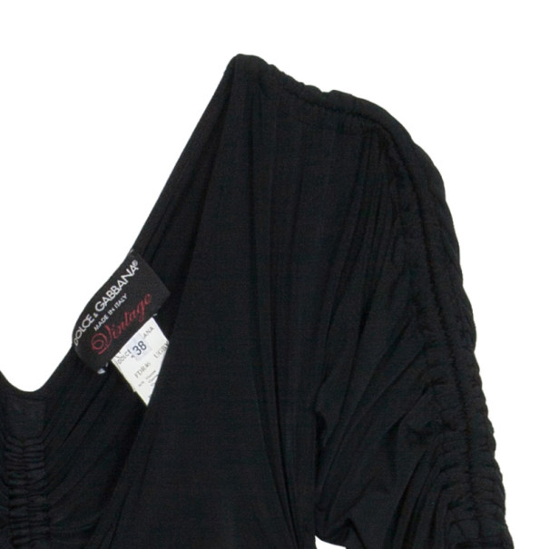 Dolce and Gabbana Black Smocked Dress S