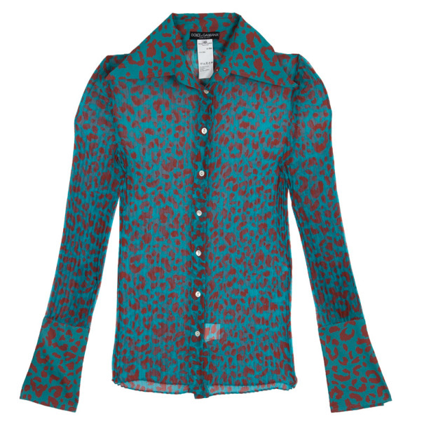 Dolce and Gabbana Animal Leopard Print Stretch Shirt S