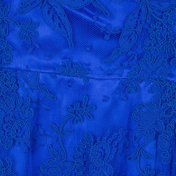 Issa Cobalt Lace Off-Shoulder Dress M