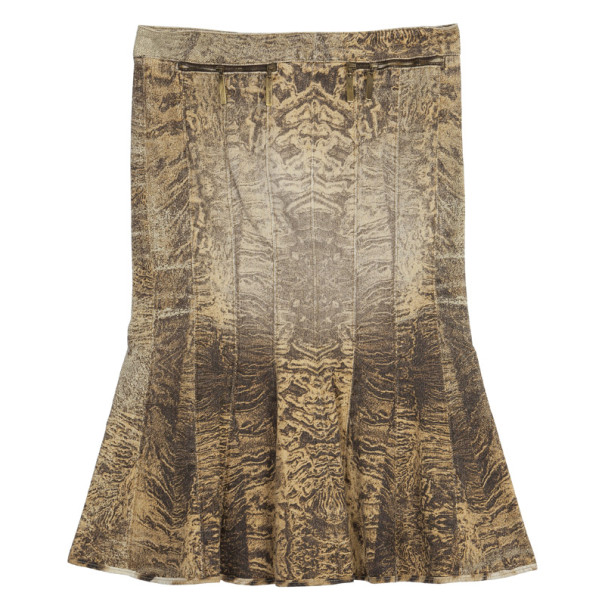 Roberto Cavalli Denim Printed Skirt XS