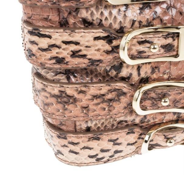 Jimmy Choo Pink Snakeskin Brix Convertible Clutch