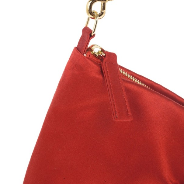 Valentino Red Satin Bow Clutch