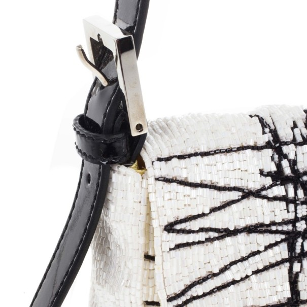 Fendi Black and White Beaded Limited Edition Baguette