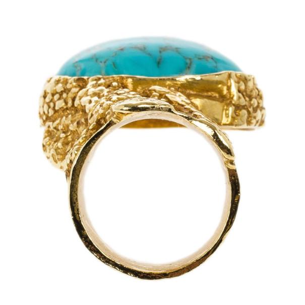 Saint Laurent Arty Turquoise Ring Size 52