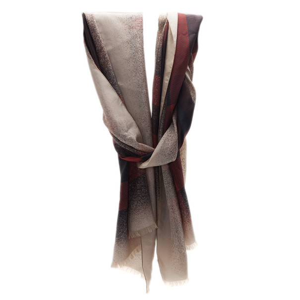 Burberry Beige and Black Novacheck Silk Stole