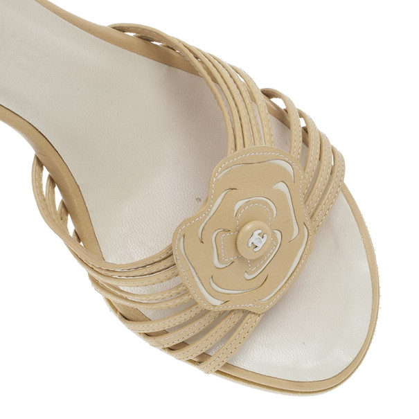 Chanel Beige Leather CC Flower Wedges Size 39
